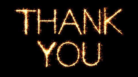 Thank You Text Sparkler Glitter Sparks Firework Loop Animation Live Action