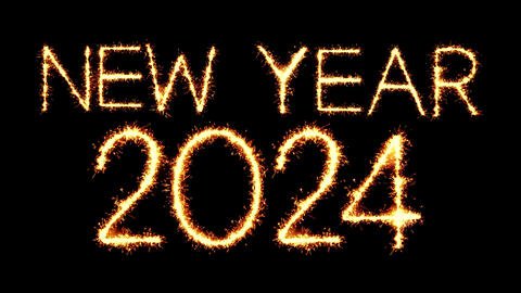 New Year 2024 Text Sparkler Glitter Sparks Firework Loop Animation Live Action