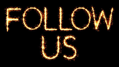 Follow Us Text Sparkler Glitter Sparks Firework Loop Animation Live Action