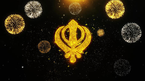 Khanda, religion, religious symbol, sikhism Icon on Firework Display Explosion Live Action