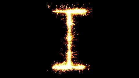 Alphabet I Text Sparkler Glitter Sparks Firework Loop Animation Live Action