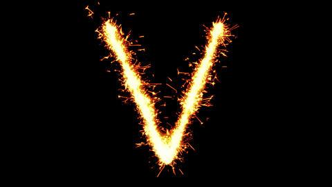 Alphabet V Text Sparkler Glitter Sparks Firework Loop Animation Live Action
