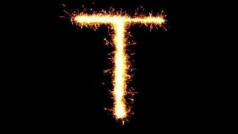 Alphabet T Text Sparkler Glitter Sparks Firework Loop Animation Live Action