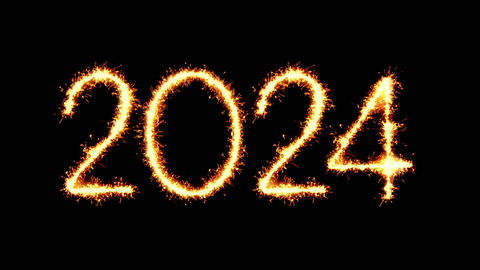 Happy New Year 2024 Text Sparkler Glitter Sparks Firework Loop Animation Live Action