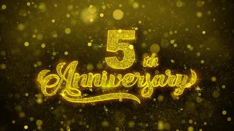 5th Happy Anniversary Golden Text Blinking Particles with Golden Fireworks Live Action