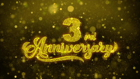 3rd Happy Anniversary Golden Text Blinking Particles with Golden Fireworks Live Action