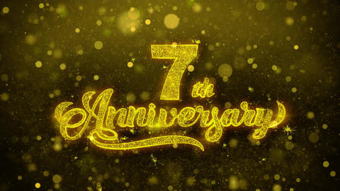 7th Happy Anniversary Golden Text Blinking Particles with Golden Fireworks Footage