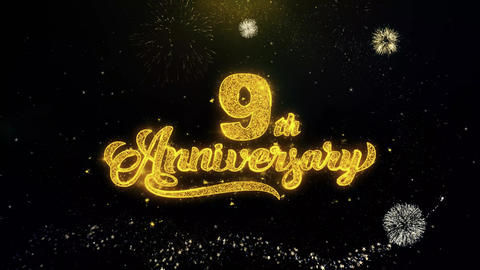 9th Happy Anniversary Written Gold Particles Exploding Fireworks Display Live Action