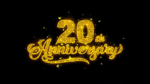 20th Happy Anniversary Typography Written with Golden Particles Sparks Fireworks Live Action