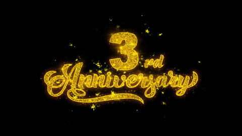 3rd Happy Anniversary Typography Written with Golden Particles Sparks Fireworks Live Action
