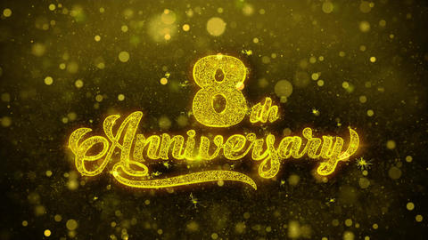 8th Happy Anniversary Golden Text Blinking Particles with Golden Fireworks Footage