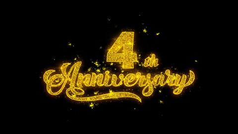 4th Happy Anniversary Typography Written with Golden Particles Sparks Fireworks Footage