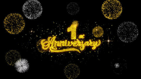 1st Happy Anniversary Golden Text Blinking Particles with Golden Fireworks Live Action
