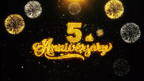 5th Happy Anniversary Wishes Greetings card, Invitation, Celebration Firework Live Action