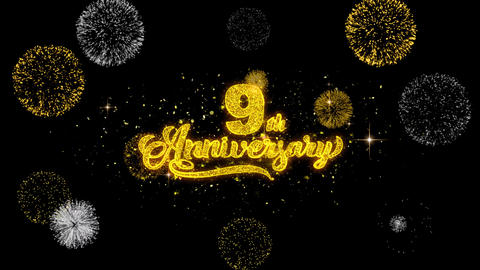 9th Happy Anniversary Golden Text Blinking Particles with Golden Fireworks Footage