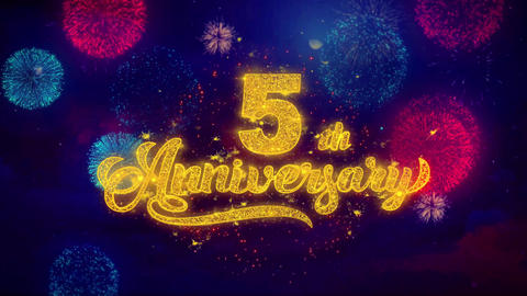 5th Happy Anniversary Greeting Text Sparkle Particles on Colored Fireworks Footage