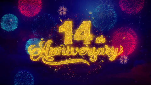 14th Happy Anniversary Greeting Text Sparkle Particles on Colored Fireworks Footage