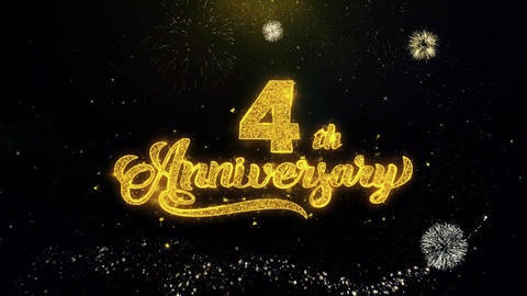 4th Happy Anniversary Written Gold Particles Exploding Fireworks Display Live Action