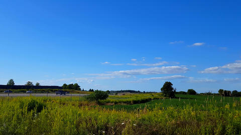 Side View of Rural Highway During Bright Summer Day. Beautiful Scenic Landscape With Fast Moving Car Footage