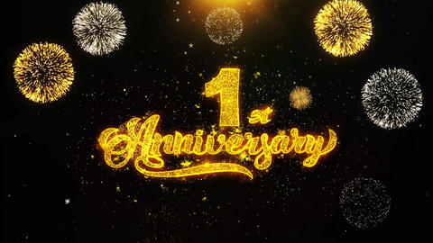 1st Happy Anniversary Wishes Greetings card, Invitation, Celebration Firework Live Action