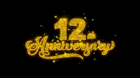 12th Happy Anniversary Typography Written with Golden Particles Sparks Fireworks Live Action