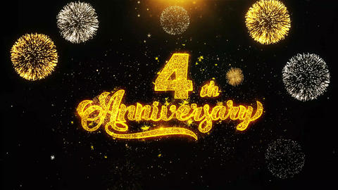 4th Happy Anniversary Wishes Greetings card, Invitation, Celebration Firework Footage
