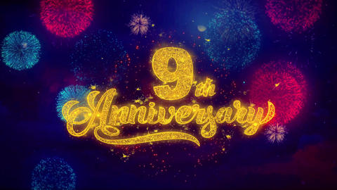 9th Happy Anniversary Greeting Text Sparkle Particles on Colored Fireworks Live Action