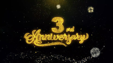 3rd Happy Anniversary Written Gold Particles Exploding Fireworks Display Footage