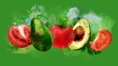 The appearance of the avocado and tomato on a watercolor stain Animation