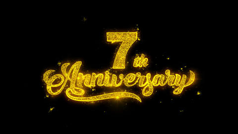 7th Happy Anniversary Typography Written with Golden... Stock Video Footage