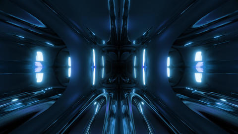 clean style black tunnel corridor background with blue glow background 3d Animation