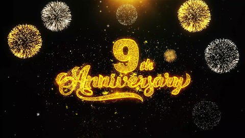 9th Happy Anniversary Wishes Greetings card, Invitation, Celebration Firework Footage