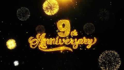 9th Happy Anniversary Wishes Greetings card, Invitation,... Stock Video Footage
