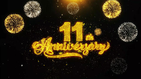 11th Happy Anniversary Wishes Greetings card, Invitation, Celebration Firework Live Action