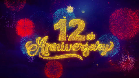 12th Happy Anniversary Greeting Text Sparkle Particles on… Stock Video Footage
