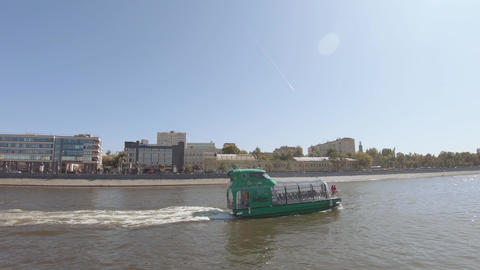 Pleasure boat on the Moscow river Footage