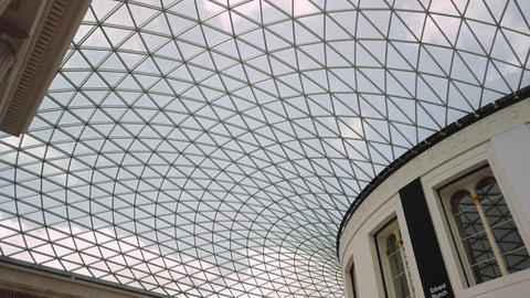 British Museum's glass roof in London, UK Live Action
