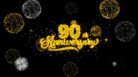 90th Happy Anniversary Golden Text Blinking Particles with Golden Fireworks Footage