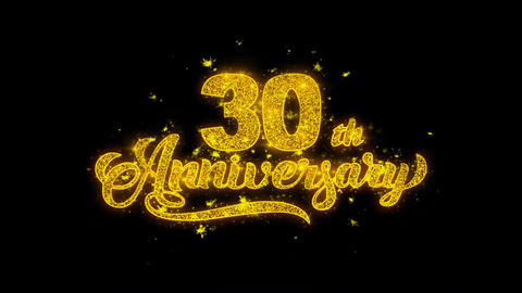 30th Happy Anniversary Typography Written with Golden Particles Sparks Fireworks Footage