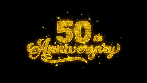 50th Happy Anniversary Typography Written with Golden Particles Sparks Fireworks Live Action