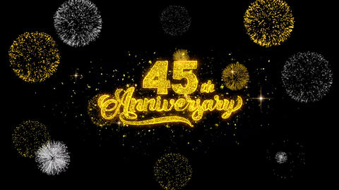 45th Happy Anniversary Golden Text Blinking Particles with Golden Fireworks Footage