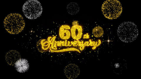 60th Happy Anniversary Golden Text Blinking Particles with Golden Fireworks Footage