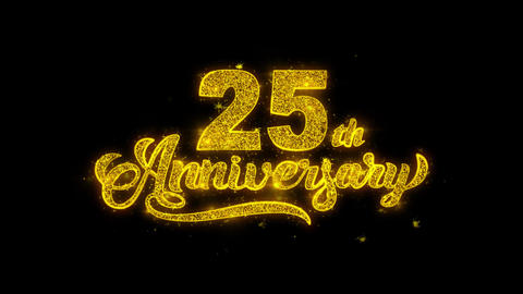 25th Happy Anniversary Typography Written with Golden… Stock Video Footage