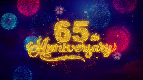 65th Happy Anniversary Greeting Text Sparkle Particles on Colored Fireworks Footage