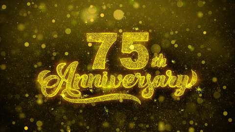 75th Happy Anniversary Golden Text Blinking Particles with Golden Fireworks Footage