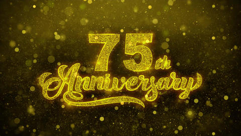 75th Happy Anniversary Golden Text Blinking Particles… Stock Video Footage