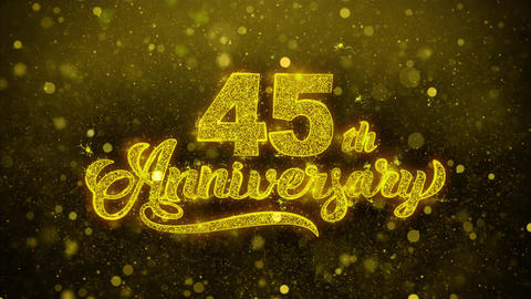 45th Happy Anniversary Golden Text Blinking Particles… Stock Video Footage