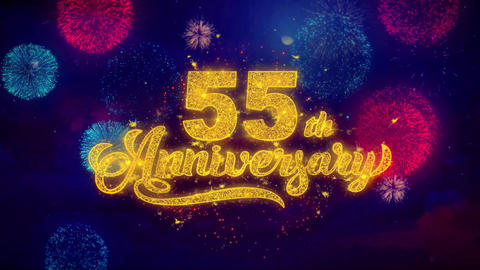 55th Happy Anniversary Greeting Text Sparkle Particles on Colored Fireworks Footage