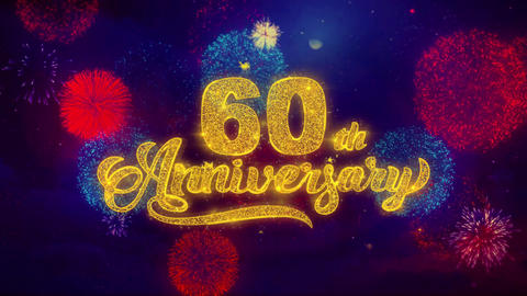60th Happy Anniversary Greeting Text Sparkle Particles on... Stock Video Footage