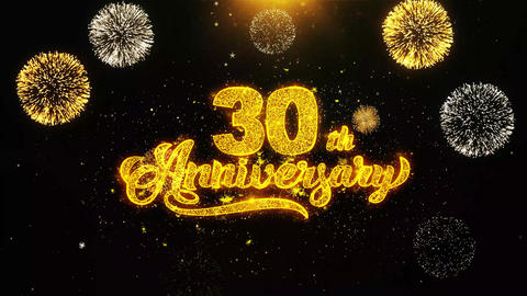 30th Happy Anniversary Wishes Greetings card, Invitation, Celebration Firework Live Action